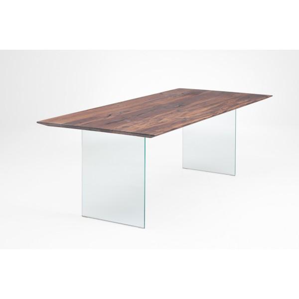 Tisch K Glaswange - Nussbaum