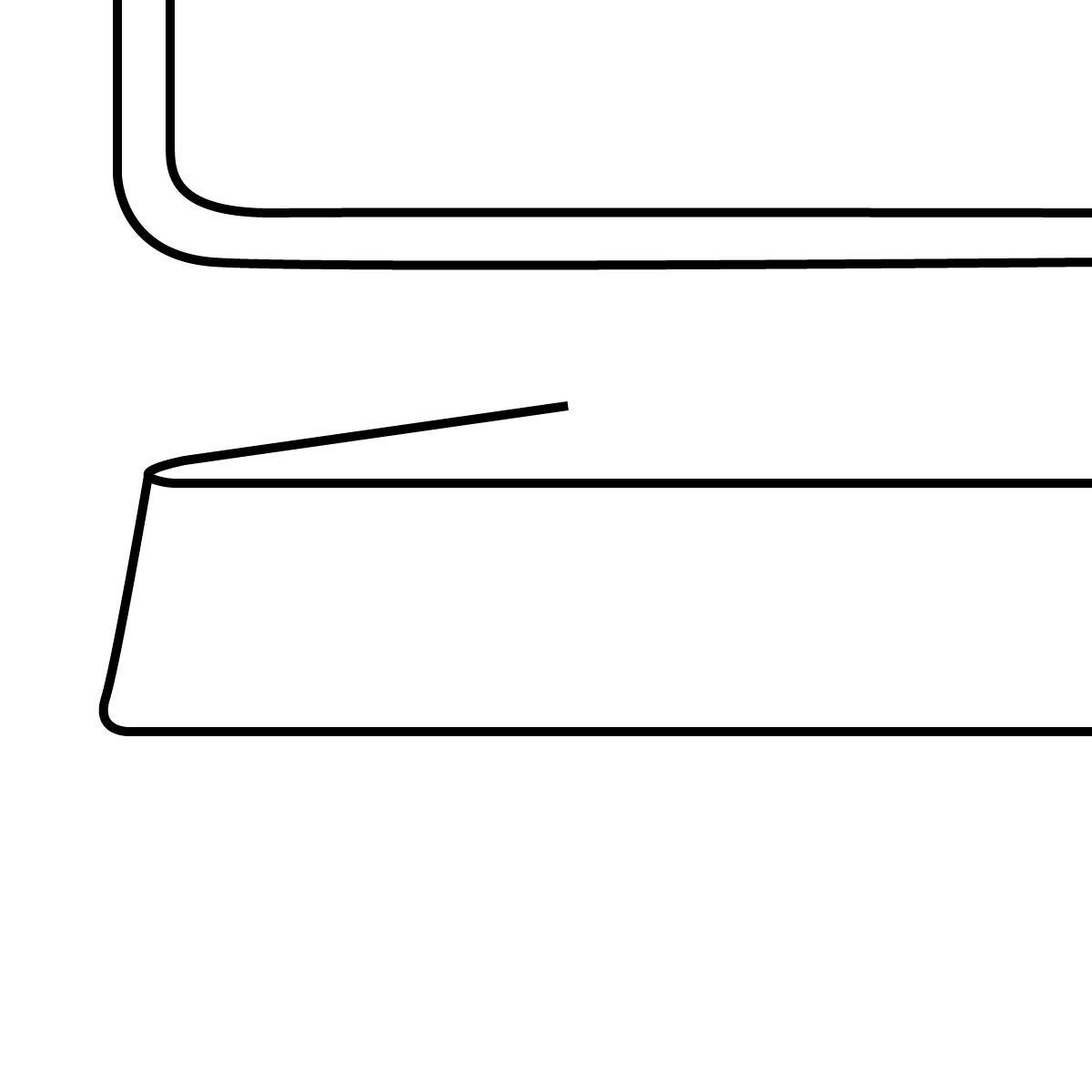 Tischplatte mit gerader Kante gerundet