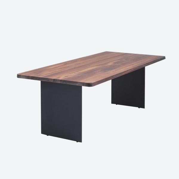 Tisch S Stahlwange - Nussbaum