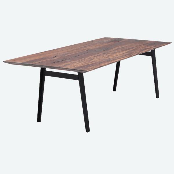 Tisch R Stahlbeine - Nussbaum